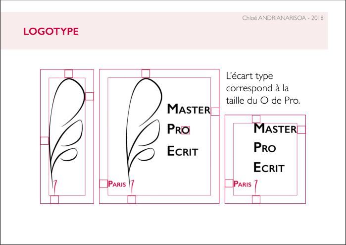 Charte graphique d'une proposition de logo pour le Master Professionnels de l'écrit de Paris 7 © Chloé Andrianarisoa